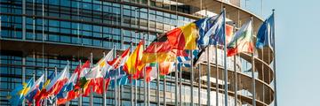 EU flags, building, brexit